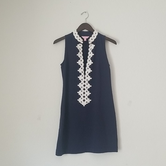 Lilly Pulitzer navy white embroidery mini dress